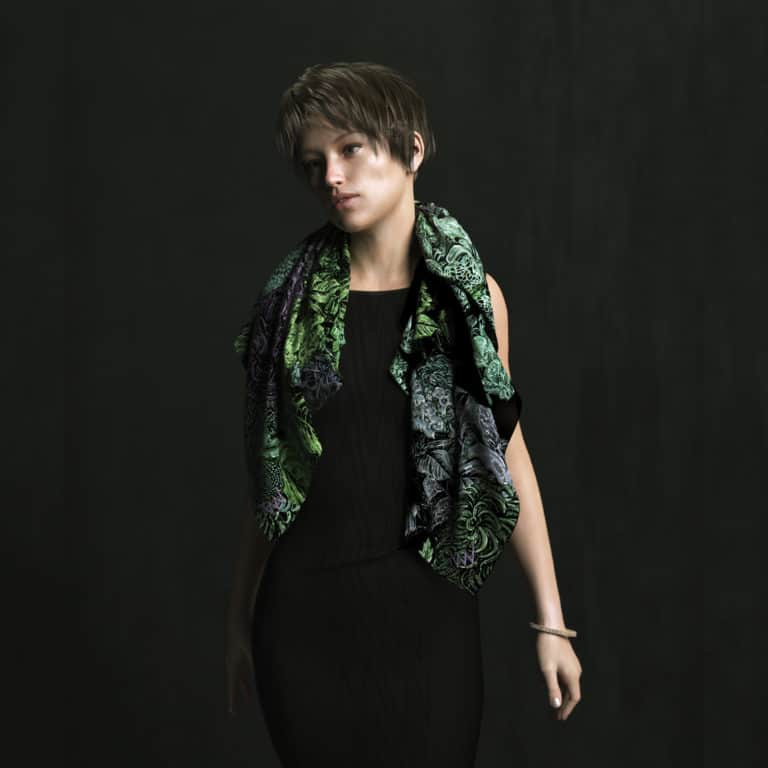Campaign photo, Edgar's Garden Scarf. Green
